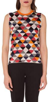 Akris Diamond Jacquard Knit Cashmere & Silk Top