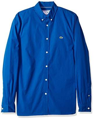 Lacoste Men's Long Sleeve Solid Poplin Stretch Collar Slim Woven Shirt