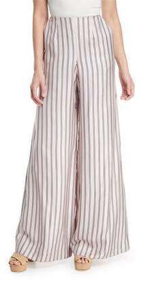 Zimmermann Sunny Wide-Leg Striped Satin Pants