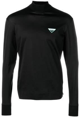Prada logo patch turtleneck sweatshirt
