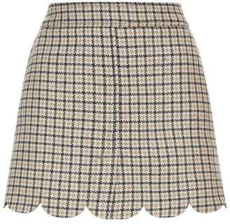 RED Valentino Check Scalloped Mini Skirt