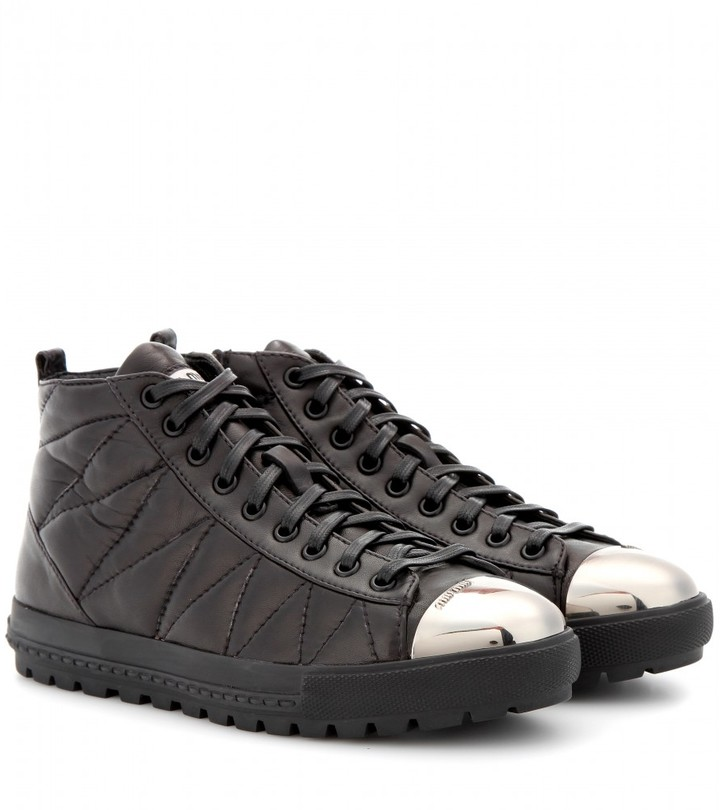 Miu Miu Quilted leather sneakers with toe cap