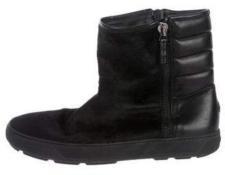 Moncler Ponyhair Round-Toe Boots