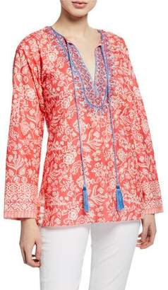 Bella Tu Brooke Floral-Print Split-Neck Long-Sleeve Tunic w/ Hand-Beaded Detail