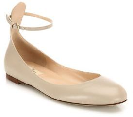 Valentino Tan-Go Leather Ankle-Strap Ballet Flats $675 thestylecure.com