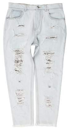 Versus Distressed Cropped Jeans