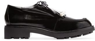 Robert Clergerie - Biro Faux Pearl-embellished Leather Brogues - Black $625 thestylecure.com