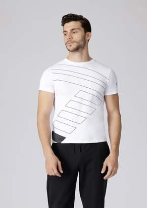 Emporio Armani Ea7 Pure Cotton T-Shirt With Logo Print