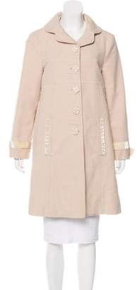 Marc by Marc Jacobs Velvet-Accented Knee-Length Coat