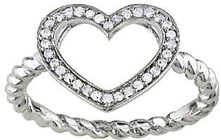 Affinity Diamond Jewelry Diamond Open Heart Ring, 1/8cttw, Sterling, b y Affinity