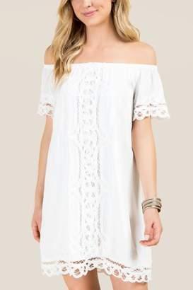 francesca's Blair Off The Shoulder Crochet Shift Dress - White