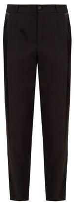 Lanvin Satin-stripe slim-leg wool trousers