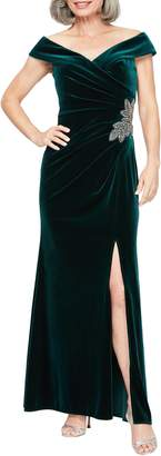 Alex Evenings Off the Shoulder Velvet Gown