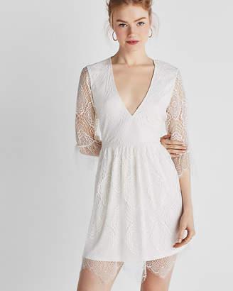 Express Deep V-Neck Lace Dress
