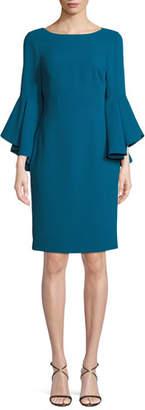 Badgley Mischka Bateau-Neck Dress w/ Trumpet Sleeves