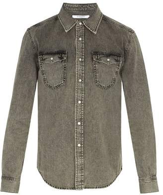 Givenchy Point Collar Washed Denim Shirt - Mens - Grey