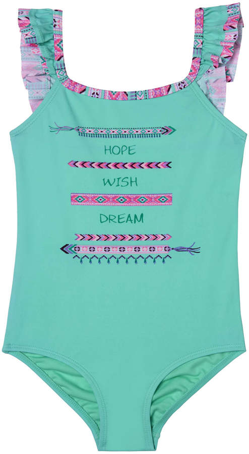 Pink & Teal Geometric 'Hope, Wish, Dream' One-Piece - Toddler & Girls