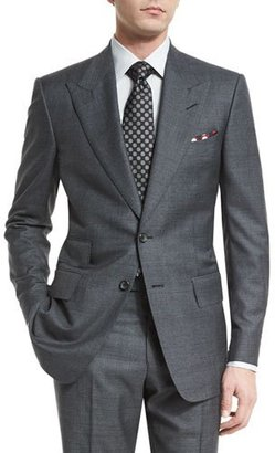 TOM FORD Windsor Base Peak-Lapel Irregular-Check Suit, Charcoal $3,990 thestylecure.com