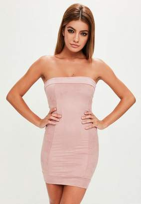Missguided Pink Faux Suede Bandeau Bodycon Dress