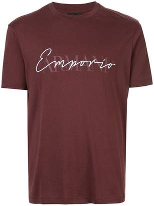 Emporio Armani embroidered and printed logo T-shirt