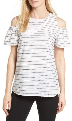 Women's Nordstrom Collection Stripe Cold Shoulder Top $179 thestylecure.com