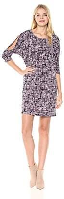 Jones New York Women's 3/4 SLV Print Cold Should Dolman Shift Dress