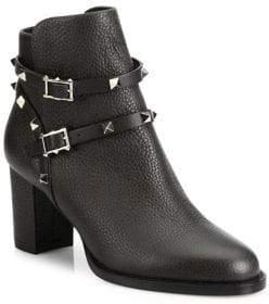 Valentino Rockstud Pebbled Leather Block Heel Booties