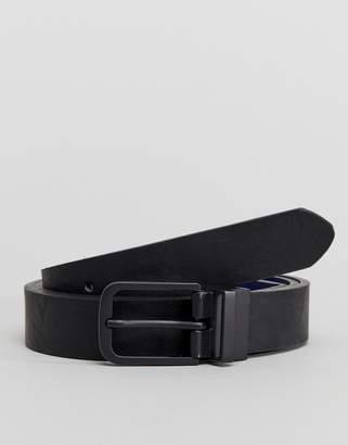 Asos DESIGN Smart Skinny Reversible Belt In Black And Navy Faux Leather