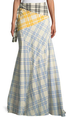 Rosie Assoulin Mixed-Plaid Maxi Wrap Skirt
