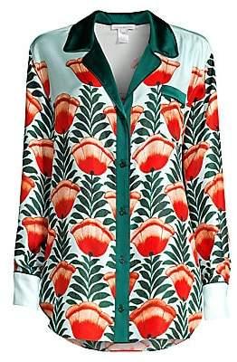 Oscar de la Renta Sleepwear Women's Floral Silk Sleep Shirt