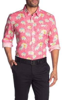 MICHAELS SWIMWEAR Printed Linen Button Up Shirt