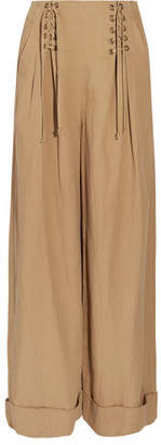 Ulla Johnson Gaucho Pleated Broadcloth Wide-leg Pants - Light brown