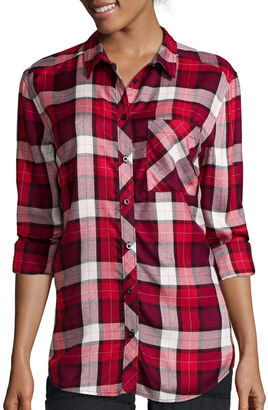 ARIZONA Arizona Long-Sleeve Boyfriend Plaid Shirt - Juniors $40 thestylecure.com