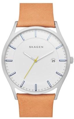 Skagen 'Holst' Leather Strap Watch, 40Mm $145 thestylecure.com