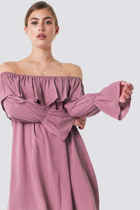 Glamorous Off Shoulder Ruffle Dress Dark Pink