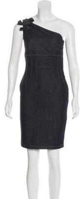 RED Valentino One-Shoulder Denim Dress