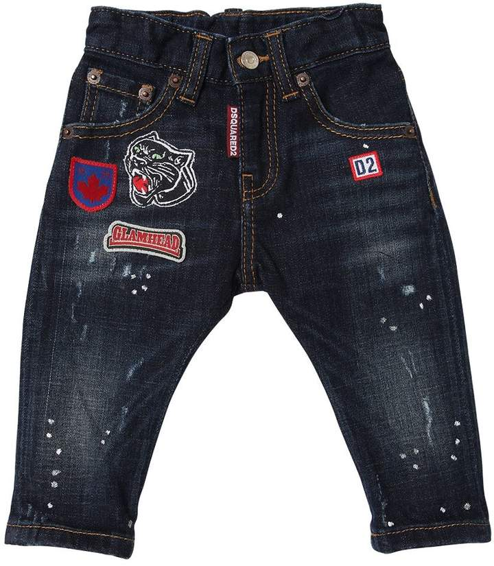 Stretch Denim Jeans With Patches
