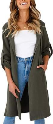 Your Gallery Women's Solid Long Sleeves Open Front Self,tie Belt Trench Coat