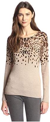 James & Erin Women's Cashmere Leopard Crewneck Sweater