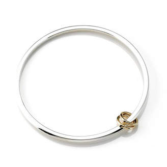 Argent of London Silver Bangle With Two 9ct Gold 'Love' Rings