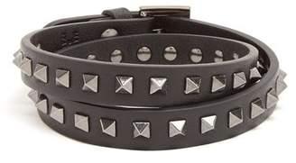 Valentino Wraparound Rockstud Embellished Leather Bracelet - Mens - Black