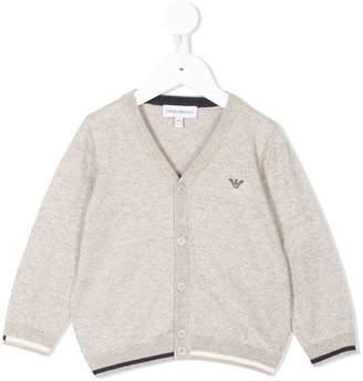 Emporio Armani Kids contrast trim V-neck cardigan