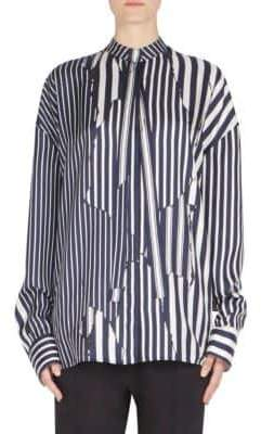Haider Ackermann Striped Button-Front Silk Blouse
