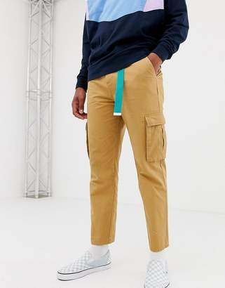Collusion COLLUSION skater fit cargo pants in tan
