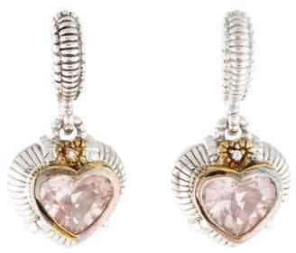 Judith Ripka Diamond & Rose Quartz Drop Earrings