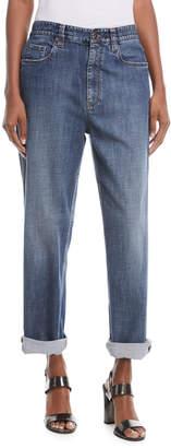 Brunello Cucinelli Mid-Rise Wide-Leg Jeans w/ Side Monili Trim