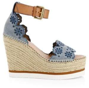 See by Chloe Laser Cut Wedge Espadrille Sandals