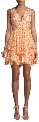 Caroline Constas Printed Ruffle Silk Fit-&-Flare Dress
