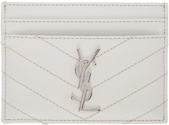 Saint Laurent White Quilted Monogram Card Holder