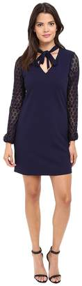 Jessica Simpson Solid Shift with Lace Sleeves Women's Dress